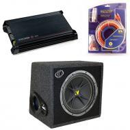 Kicker Car Audio Subwoofer Package Includes VC12 4 Ohm Box, DX300.2 Amp & Install Kit