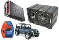 "Jeep Wrangler Kicker CVX10 & Rockford Amp Car Audio Custom Fit 10"" Subwoofer Enclosure"