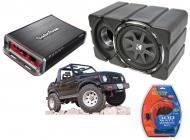 "Suzuki Samurai Kicker CVX10 & Rockford Amp Car Audio Custom Fit 10"" Subwoofer Enclosure"