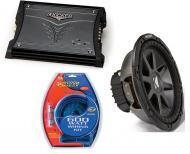 """Kicker Car Audio 10"""" Sub Package CVR10 Dual 2 Ohm Subwoofer, ZX200.2 Amp & Install Wire Kit"""