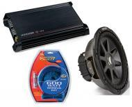 """Kicker Car Stereo 12"""" Sub Package CVR12 Dual 2 Ohm Subwoofer, DX300.2 Amp & Install Wire..."""