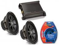 """Kicker Car Stereo 12"""" Sub Package CVR12 Dual 4 Ohm Subwoofer Pair, DX1000.1 Amp & Instal..."""
