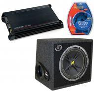 Kicker Car Stereo DX300.2 Amplifier Amp, VC12 Loaded 4 Ohm Sub Box & 8GA Amp Wire Kit Package