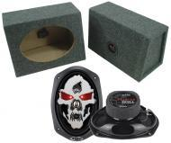 "Boss Car Stereo Loaded Angle Cut 6x9"" Speaker Boxes & SK694 Phantom 750W 4-Way Speakers"