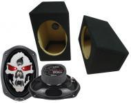 "Boss Car Stereo Loaded Wedge 6x9"" Speaker Boxes & SK694 Phantom 750W 4-Way Speakers"