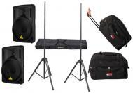 "DJ Package Behringer Pro Audio (2) B212D Powered 550 Watt 12"" Speakers with Adjustable Stand..."