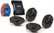 "Kicker Car Stereo (2) 07 DS680 Stereo 6x8"" 5x7"" Door 140 Watt Speaker Pairs, Boss CE404..."