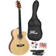Pyle PGAKT39 39' Inch Beginner Jammer, Acoustic Guitar w/ Carrying Case & Accessories