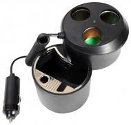 Pyle Car Audio PL12AT3C Plug In Car 1 TO 3 Cigarette Lighter Multiplier Ashtray Combo