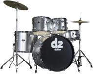 Ddrum D2 Beginner Complete 5-piece Drum Set - Brushed Silver Color D2BS (D2 BS)