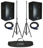 "(2) New Gemini GSM-1585 Pro Audio DJ 1400 Watt Passive 3 Way 15"" Speaker Pair, Stands & ..."