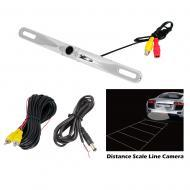Pyle PLCM18SC License Plate Mount Rear View Backup Color Camera w/ Distance Scale Line (Zinc Meta...