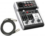 Behringer 302USB Pro Audio DJ Live Sound 5 Channel USB Mixer with $25 XLR Cable Package