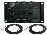 """Pyle Pro Audio DJ PMX5U Stereo 2 Channel DJ USB / SD Card Mixer with 1/4"""" TRS Jack Cables Pa..."""