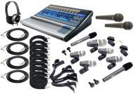 PreSonus StudioLive 24.4.2 Pro Audio 24CH Digital Recording Mixer with (9) Vocal & Drum Mic K...