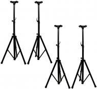 (4) Pro Audio DJ Heavy Duty Tripod Speaker Stands with Speaker Pole Adapter Bracket Package