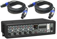 Behringer PMP530M Pro Audio DJ 300 Watt Powered 5 Channel Mixer with (2) Speakon Cables Package