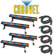 Chauvet Lighting DJ (4) Colorstrip Mini Color Wash Stage Bar Light  with (4) DMX Cables Package