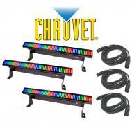 Chauvet Lighting DJ (3) Colorstrip Mini Color Wash Stage Bar Light with (3) DMX Cables Package