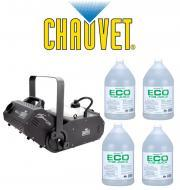 Chauvet DJ H1800FLEX Hurricane Fog Smoke Machine with (4) Gallons Fog Juice Package