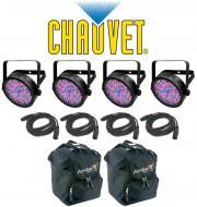 Chauvet DJ Lighting (4) Slim Par 38 Can Stage Wash LED Light with (4) DMX Cables & (2) Arriba...