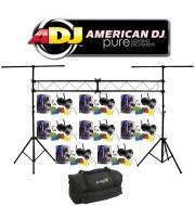American DJ Lighting (8) 56 BLACK COMBO Par Can Stage Lights with Portable Truss System Package &...