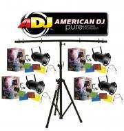 American DJ Lighting (4) 64 BLACK COMBO Par Can Stage Lights with Tripod T-Bar Light Stand Package