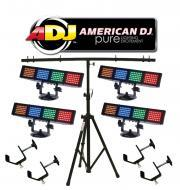 American DJ Lighting (4) Color Burst LED Multi Color LED Chase Wash Light with (4) C Clamps &...