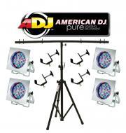 American DJ Lighting (4) 38P LED PRO Polished Par Can Stage Wash Light with (4) Truss C-Clamps &a...