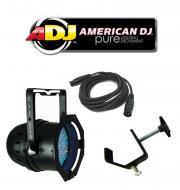 American DJ Lighting 64B LED PRO Black Par Can RGB Color Stage Wash Light with DMX Cable & Tr...
