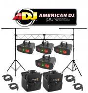 American DJ Lighting (4) Galaxian Gem LED Moonflower & Laser Effect Light with (4) DMX Cables...