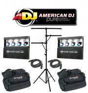 American DJ Lighting (2) Quad Scan LED Multi Head Scan Color Light with (2) Arriba Bags, (2) DMX ...