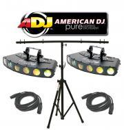American DJ Lighting (2) Gobo Motion LED Multi Color Pattern Light with (2) DMX Cables & T-Ba...