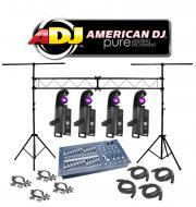 American DJ Lighting (4) Inno Scan LED Gobo Scanner Color Light with (4) DMX Cables, (4) Clamps, ...