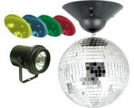 "American DJ Disco Ball MB 8 COMBO 8"" Mirror Ball W/ Pinspot & RGBY Lenses"