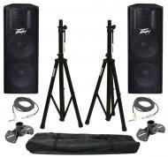"(2) Peavey PV215 Pro Audio DJ Dual 15"" Passive 1400 Watt Loud Speaker with Tripod Stands &am..."