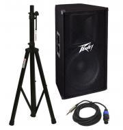 "Peavey PV115 Pro Audio DJ 15"" 2-Way 400W Passive Loud Speaker with Stand & 1/4"" to ..."