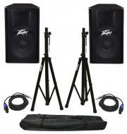 "(2) Peavey PV115 Pro Audio DJ 15"" 2-Way 400W Passive Loud Speakers with Stands & 1/4&quo..."