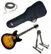 """Peavey  JF-1 Semi Hollow Sunburst Electric 6 String Guitar with Stand, 1/4"""" Jack Cable &..."""