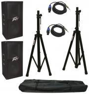 "(2) Peavey PV112 Pro Audio DJ Single 12"" 2-Way 800 Watt Passive Speakers with Tripod Stands ..."