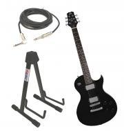 "Peavey SC2 Electric 6 String Dual Pickup Guitar Black Finish with Stand & 1/4"" Jack Cable"