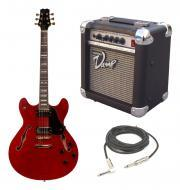 Peavey JF-1 Electric Hollow Body 6 String Red Jazz Fusion Guitar with PVAMP20 Combo Amp & 1/4...