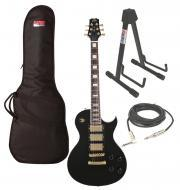 """Peavey SC3 Electric 6 String Jumbo Frets 3 Pickups Black Guitar with 1/4"""" Cable, Stand &..."""
