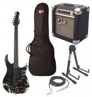 """Peavey Predator Electric 6 String Marvel Thor Guitar with PVAMP20 Combo Amp, 1/4"""" Cable, Sta..."""