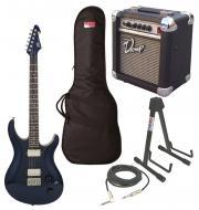 "Peaevy Session Electric 6 String 22 Fret Guitar Blue Finish with PVAMP20 Combo Amp, 1/4"" Cab..."