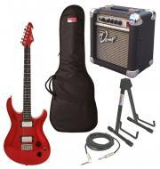 """Peaevy Session Electric 6 String 22 Fret Guitar Red Finish with PVAMP20 Combo Amp, 1/4"""" Cabl..."""