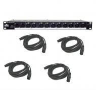 Chauvet DJ Lighting Data Stream Universal DMX 512 Optical Splitter with (4) DMX Cables Package