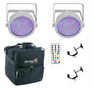Chauvet DJ Lighting (2) EZpar 64 RGBA White Battery Powered Slim Can LED Light with IRC Wireless ...
