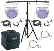 Chauvet DJ Lighting (2) EZpar 64 RGBA White Battery Powered Slim Can LED Light with T-Bar Stand, ...