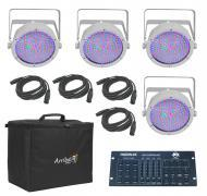 Chauvet DJ Lighting (4) EZpar 64 RGBA White Battery Powered Slim Can LED Light with (4) DMX Cable...